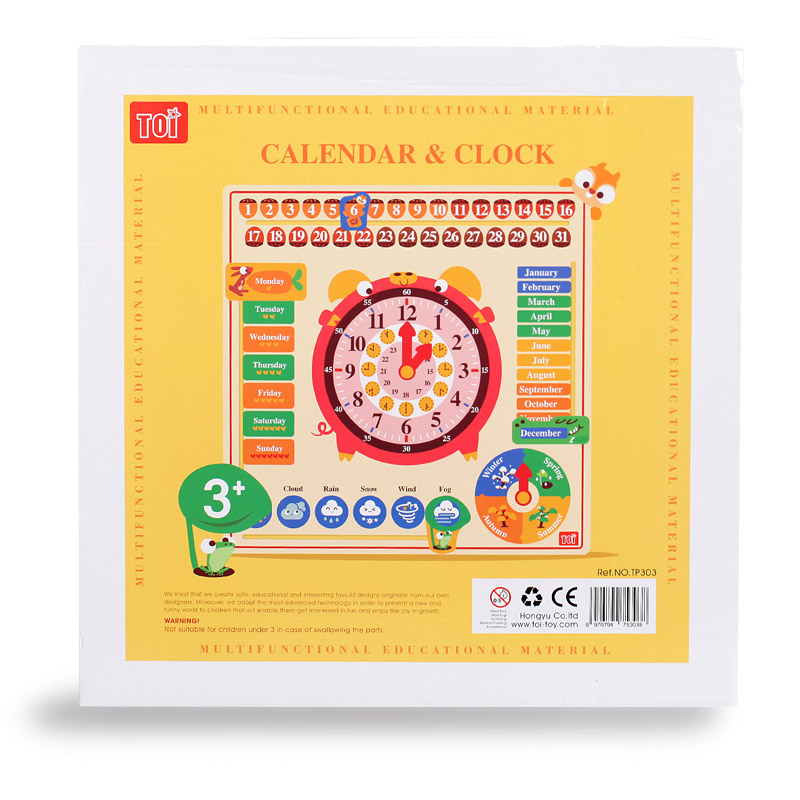 Wooden Calendar Board Teaching Clock for Children Kids Early Learning Toy