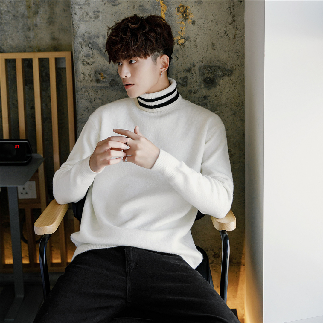 Usd 3707 Sicily Mens Small Fresh White Turtleneck Sweater Male