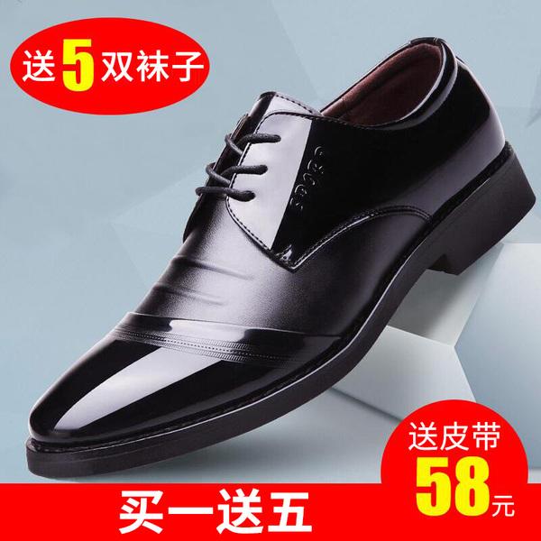 Мужской бизнес официальный стиль черный воздухопроницаемый кожаная обувь мужской для отдыха волна осень корейская  версия английский стиль с острым носом Внутреннее увеличение высокая мужской башмак