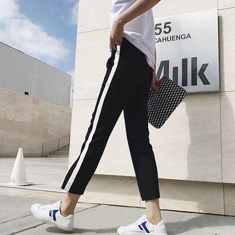 Mùa xuân và hè mới học sinh mặc quần thể thao size lớn nữ phiên bản Hàn Quốc đã mỏng 9 điểm quần âu chân nữ quần harem - Quần Harem