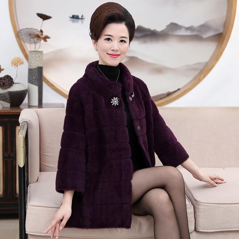 女装妈妈装秋冬上衣外套短款羊绒30岁40中年时尚韩版大码高档大衣