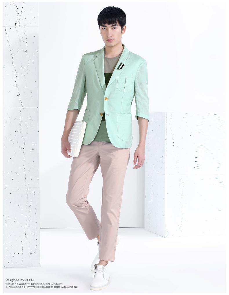 GXG phù hợp với nam giới [đặc biệt] quần áo nam nóng xu hướng thời trang đô thị xanh Slim tay áo giản dị blazer