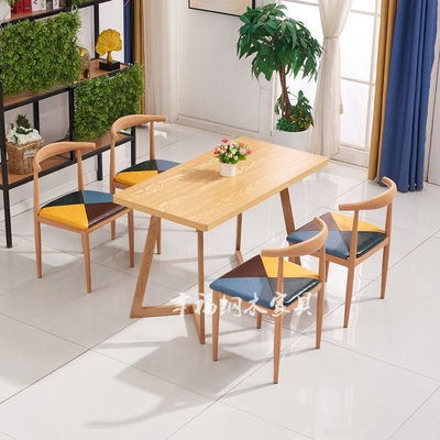 Wrought iron horn chair fast food table and chair combination theme restaurant milk tea coffee noodle house spicy snack bar table and chair