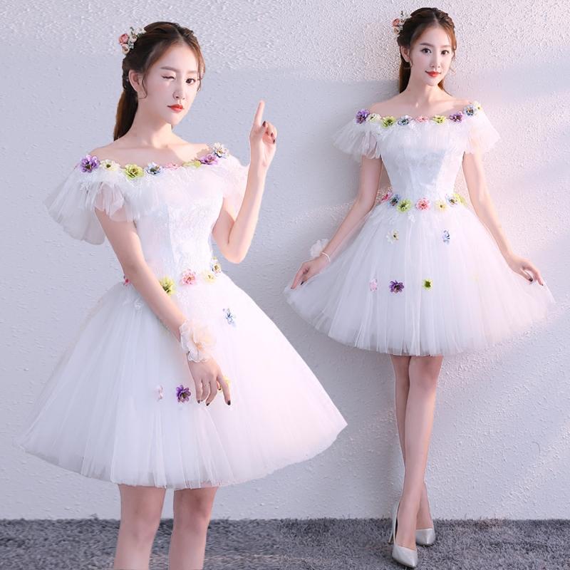 晚礼服2018新款冬彩纱蓬蓬裙短款伴娘服小礼服主持人演出服显瘦女