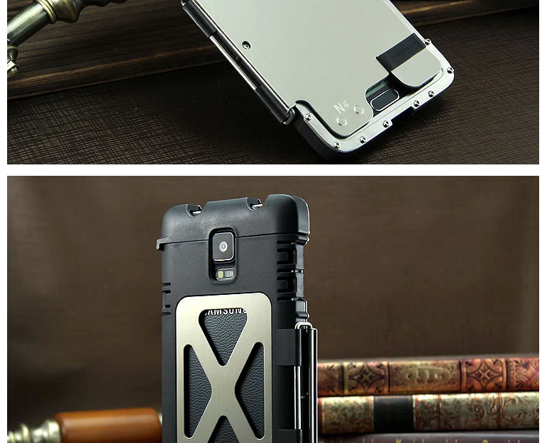 Armor King Iron Man Luxury Shockproof Stainless Steel Aluminum Metal Flip Case Cover for Samsung Galaxy Note 4 N9100