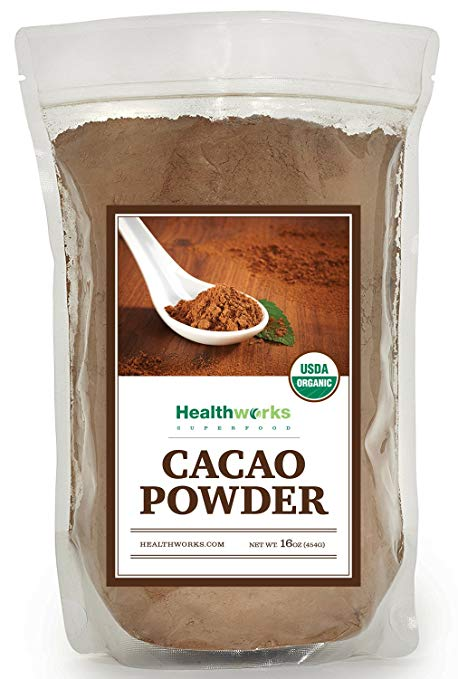 Healthworks Cacao Powder Organic, From Criollo Beans, 1lb