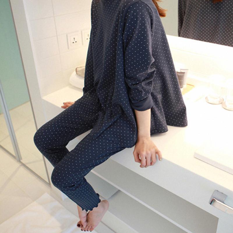 Bộ đồ ngủ nữ mùa thu cotton dài tay phiên bản Hàn Quốc có thể mặc ngọt ngào và dễ thương đơn giản chấm bi phục vụ tại nhà - Nam giới