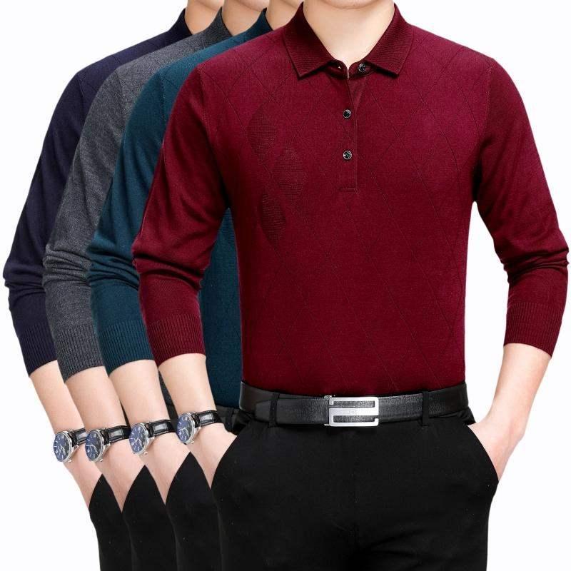长袖春季山羊绒衫男薄款中年打底t恤品牌针织翻领衫195加大码4XL