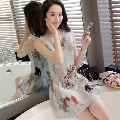 Retro không tay ăn mặc nữ mùa hè mỏng mùa hè mới Hàn Quốc Slim in ấn eo một từ vest váy váy váy đầm