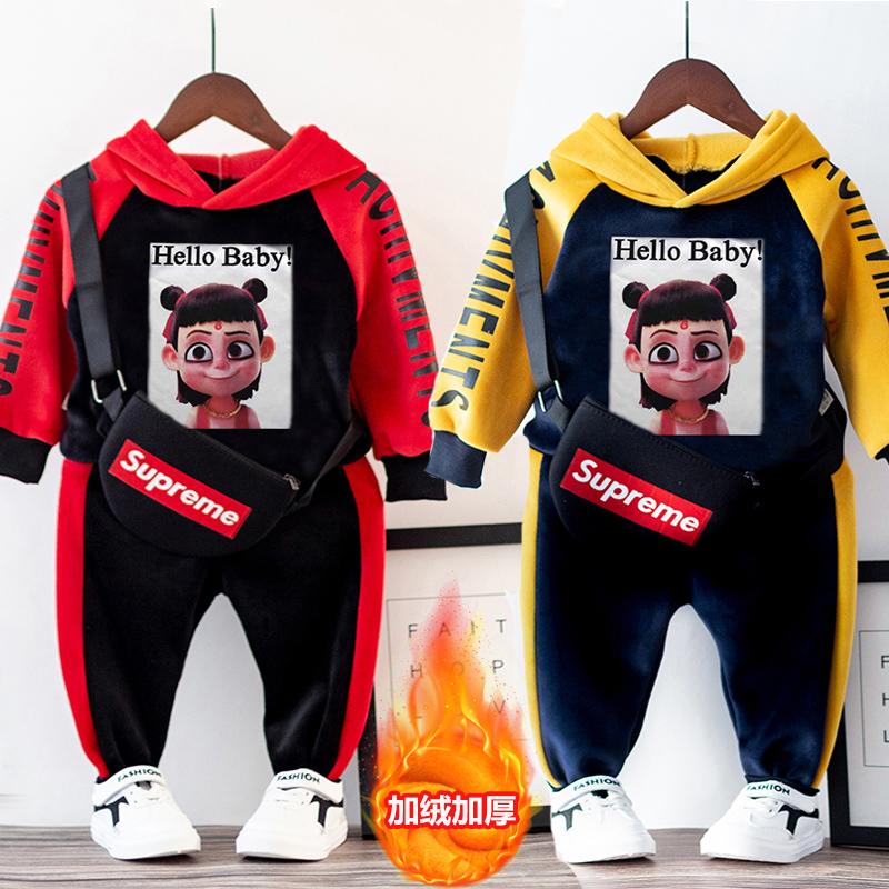 男女童秋冬加绒加厚金丝绒套装新款洋气卫衣运动两件套宝宝双面绒