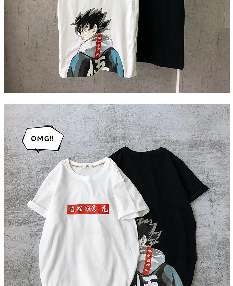 港风黑色 夏季半袖原创纯棉印花男短袖T恤B275-T146-P30 棉100%