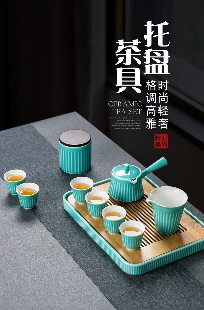 Jingdezhen ceramic kung fu tea set suit household contracted water side put the pot of tea tray tray office receives a visitor