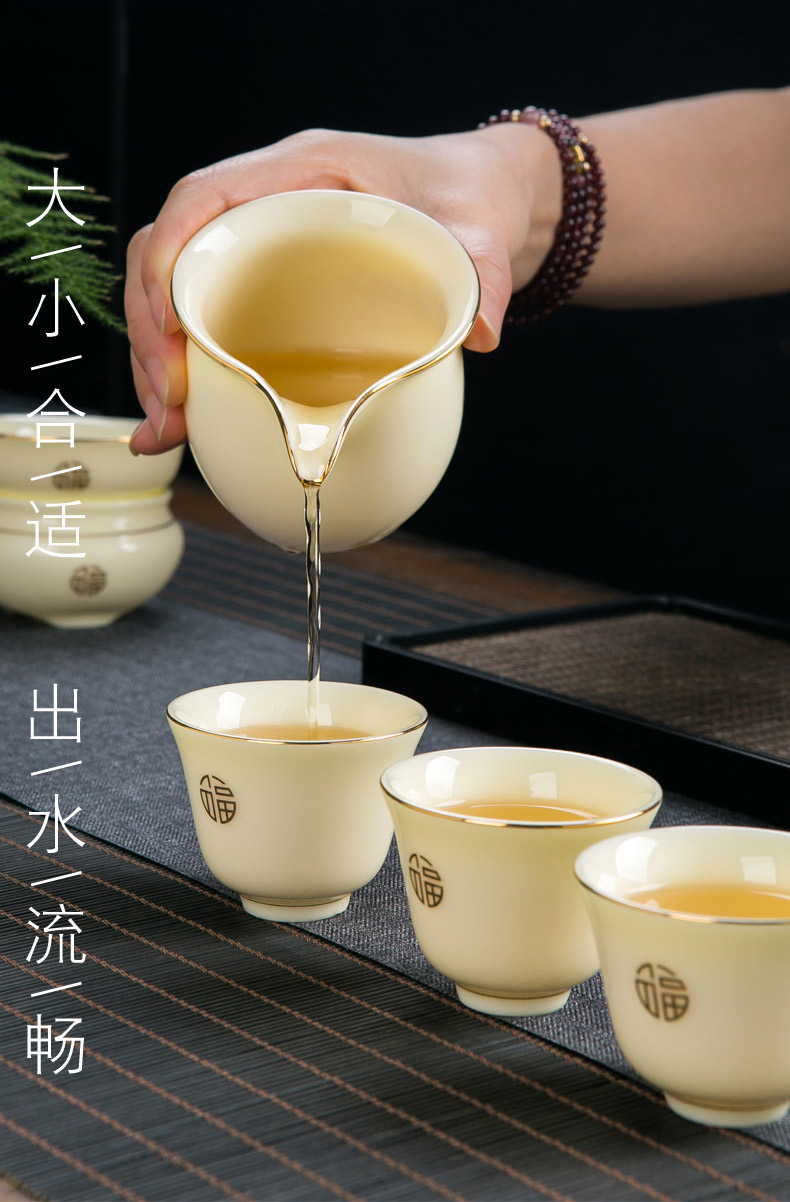 Jingdezhen fuels the contracted kung fu tea set suit small household set office receive a visitor ceramic tea tureen tea cups
