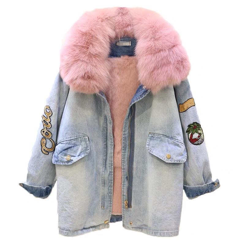 美林新款内胆家狐狸棉衣兔毛粉色抽绳收腰加厚棉服中长款女毛领