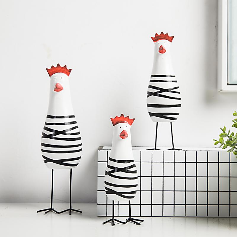 北欧可爱小鸡动物摆件客厅酒柜家居装饰品书工艺品创意美式小摆设