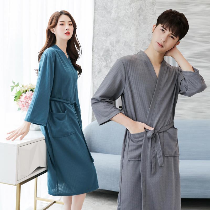 Áo choàng tắm nữ mỏng thấm nước nhanh khô gợi cảm áo ngủ nam đồ ngủ mùa hè lỏng lẻo XL chất béo áo choàng tắm buổi sáng mùa xuân - Night Robe