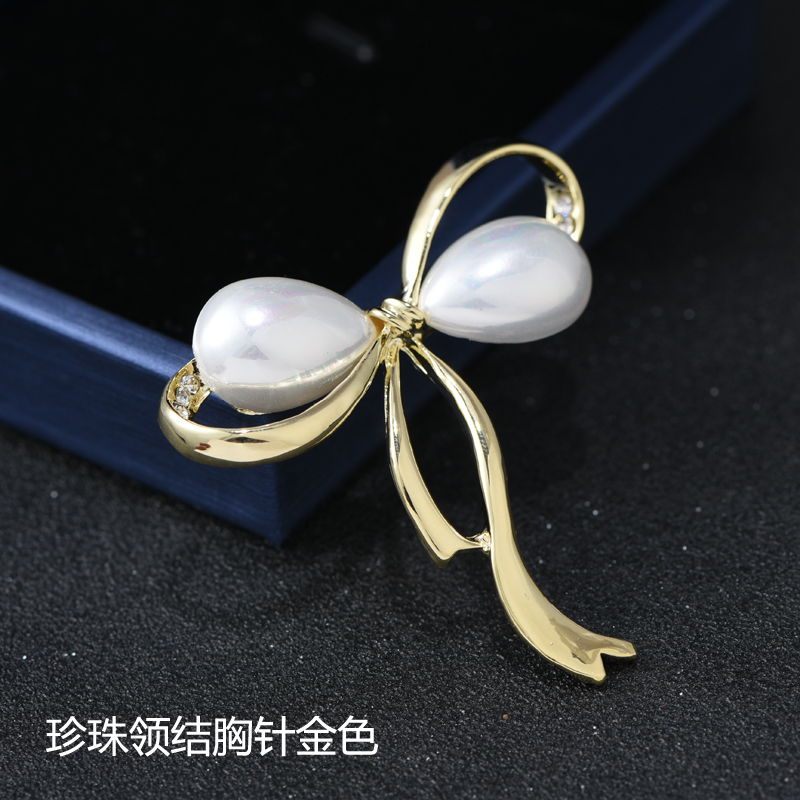 Lemon Yellow Pearl Bow Tie Brooch Gold