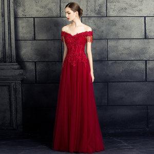 敬酒服新娘结婚2018冬季新款一字肩宴会红色晚礼服女长款名媛大码