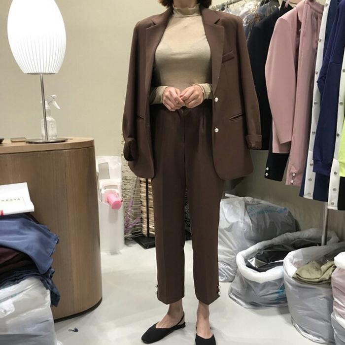 韩国2019新款香风小秋装西服外套西装直筒九分裤时尚职业套装女潮
