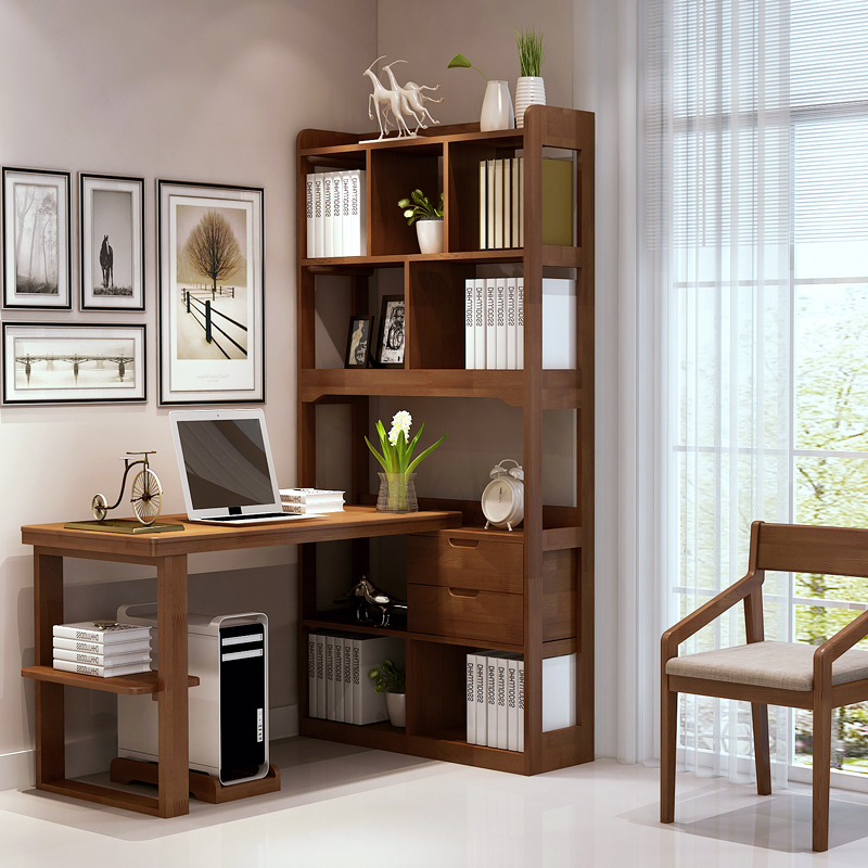 superb wood desk and bookcase