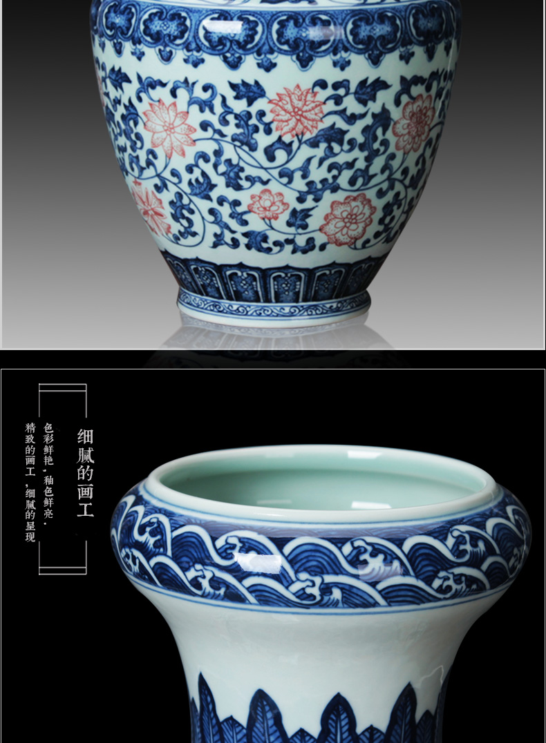 Jingdezhen blue and white square shoulder youligong tangled branches pottery and porcelain vases bottles of Chinese study sitting room adornment is placed