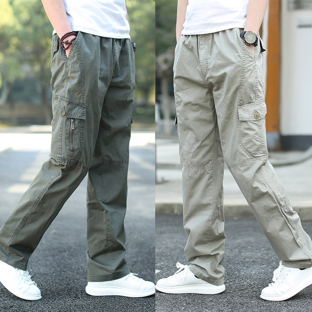 Fall and winter overalls men's slacks large stretch sport pants men's pants straight leg long pants men's outdoor