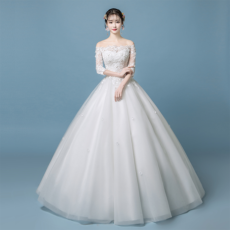 A word shoulder wedding dress 2018 new summer Korean version of the ...