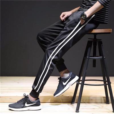 两道杠男运动裤收口束脚小脚宽松白边裤两线裤条纹校服裤加大长裤