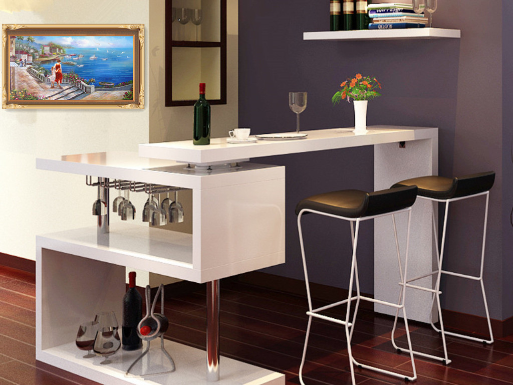 IKEA Corner Bar Modern Minimalist Living Room Rotating Bar Table Partition  Paint Bar Wine Cabinet Porch Combination Bar Chair
