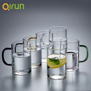 启润带把耐热透明玻璃杯300ml*6只装