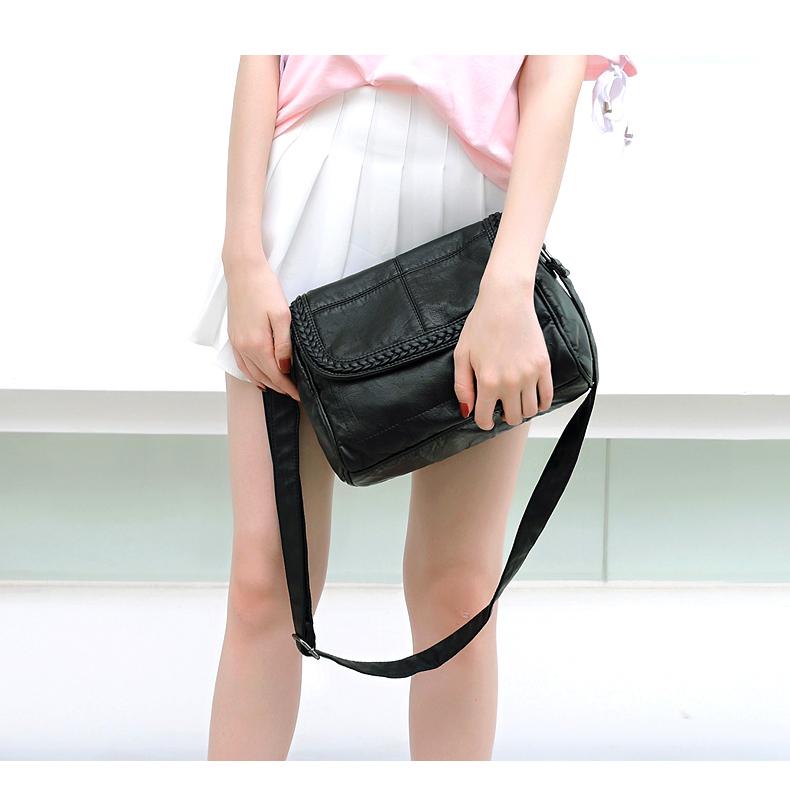 欧娜诗真皮女式包包2020新款妈妈包休闲编织牛软皮女斜挎包单肩包详细照片