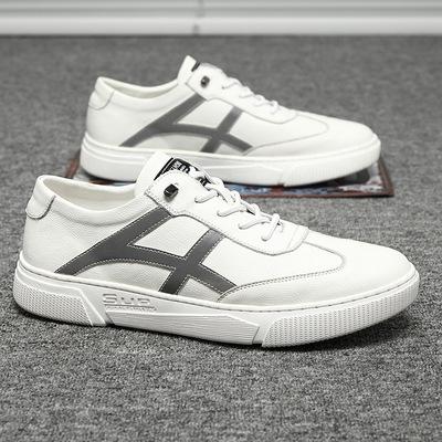 男鞋2021夏季新款英伦真皮小白鞋潮流百搭低帮板鞋运动休闲皮鞋子