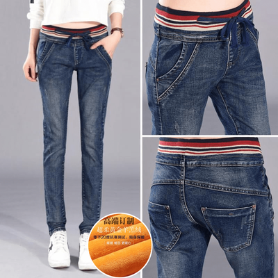 Plus cashmere thickened 2017 women's jeans female Harlan was thin Korean elastic fat MM large size loose elastic waist trousers