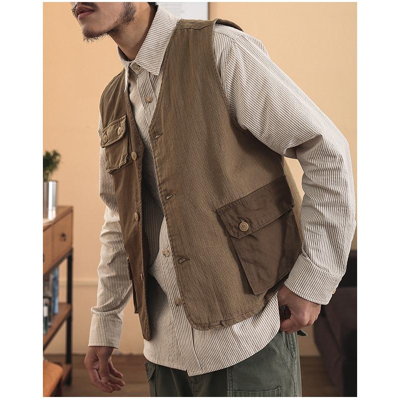 一本番Amekaji vest美式复古阿美咔叽撞色拼接马甲做旧背心男潮