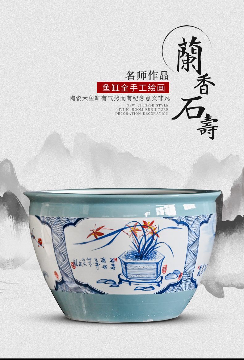 Jingdezhen ceramic aquarium fish tank to cylinder yard extra large water lily lotus is suing koi fish
