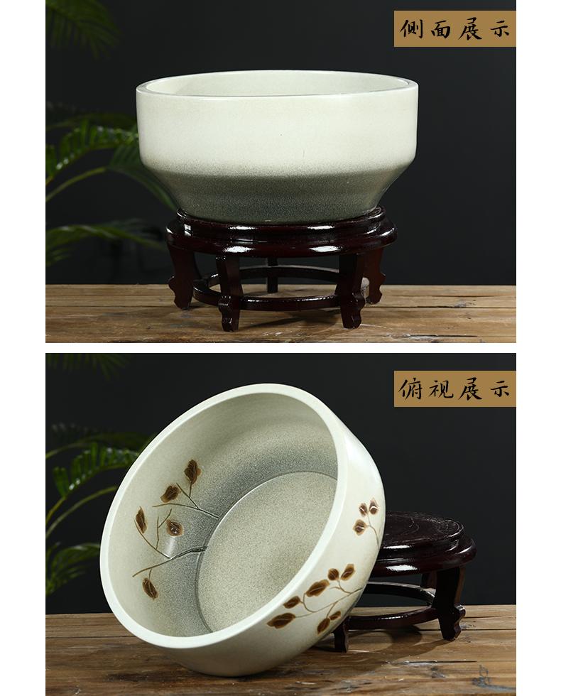 Jingdezhen ceramic aquarium small desktop sleep keep goldfish bowl lotus basin lotus tortoise GangPen furnishing articles in the living room