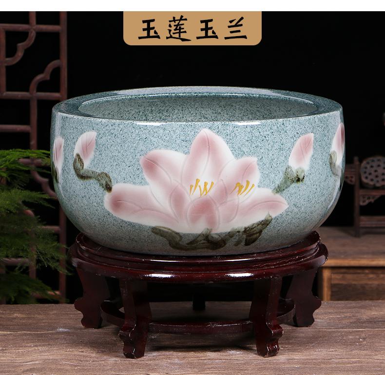Restoring ancient ways of jingdezhen ceramic aquarium water lily big crock pot lotus bowl lotus basin tortoise tank cylinder goldfish bowl furnishing articles