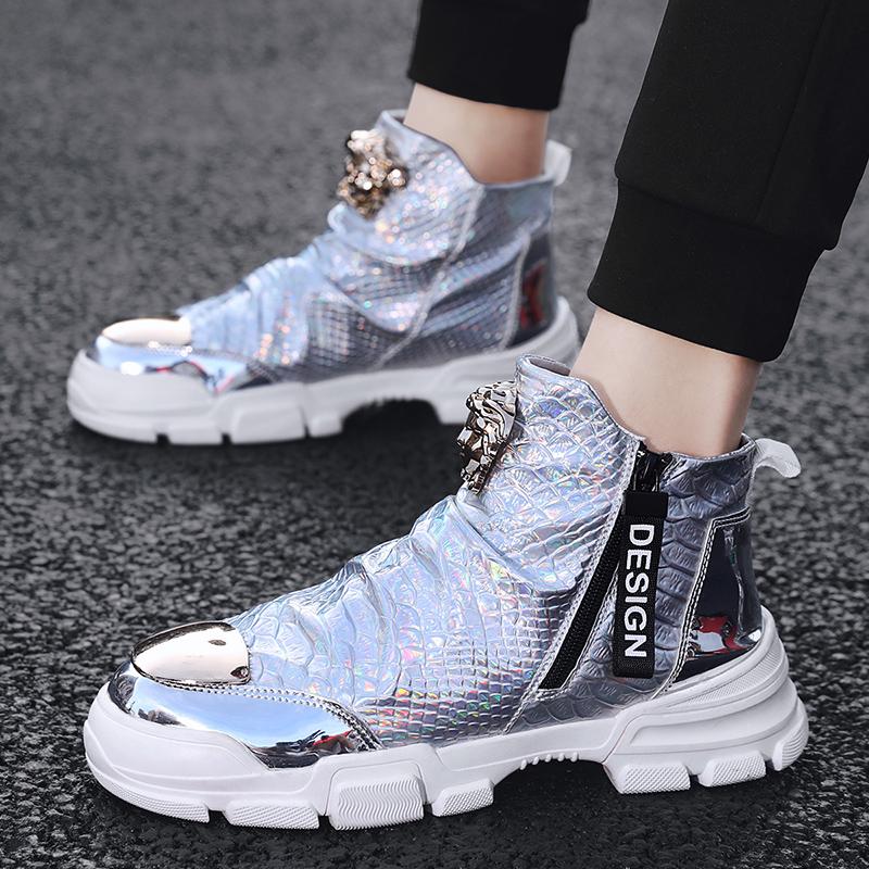 Мужская обувь 2020 новый осень высокий обувной мужчина блестящая кожа случайный кожаная обувь корейская волна струиться дикий англия мартин сапоги мужчина