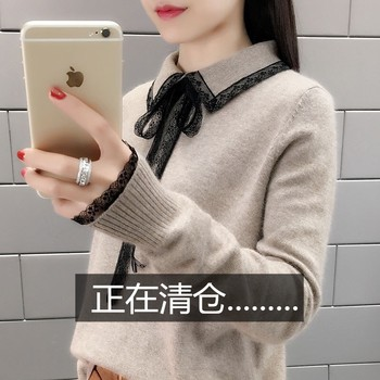 Female sweater spring and winter velvet lace knit turtleneck sweater bottoming shirt Korean foreign flavor