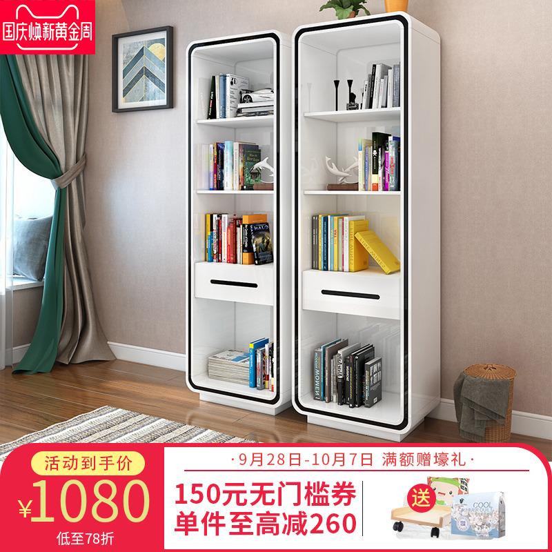 家用簡易烤漆書桌書架組合 簡約現代隔斷書柜落地柜儲物架置物架