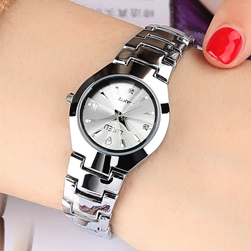Silver white plate female watch luminous