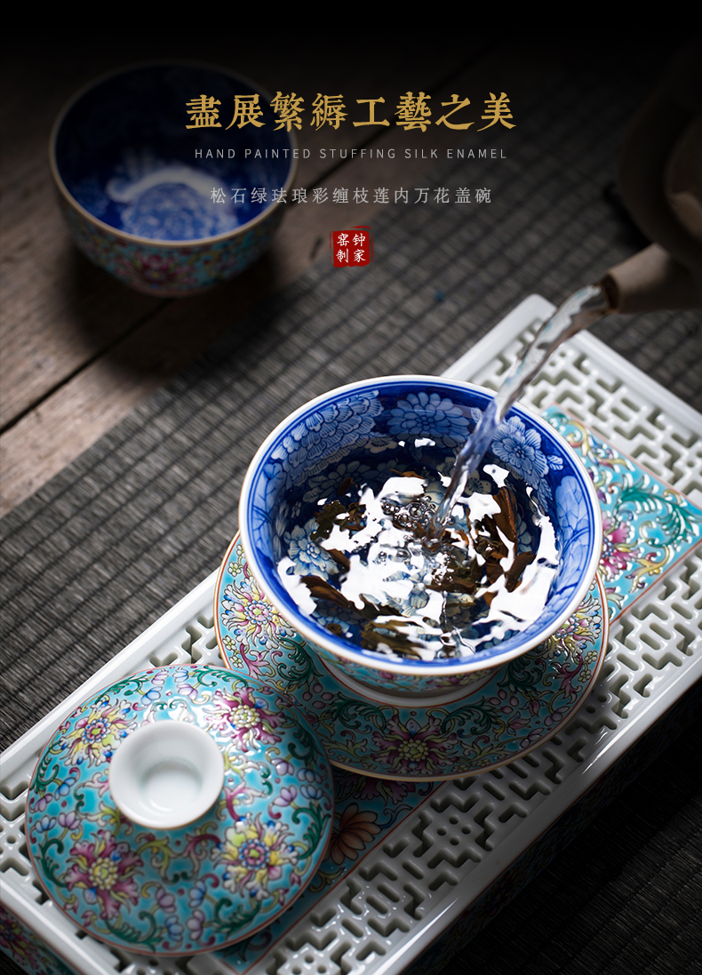 Clock home up with jingdezhen ceramic tureen bowl with a single hand colored enamel large with cover to cup tea bowl