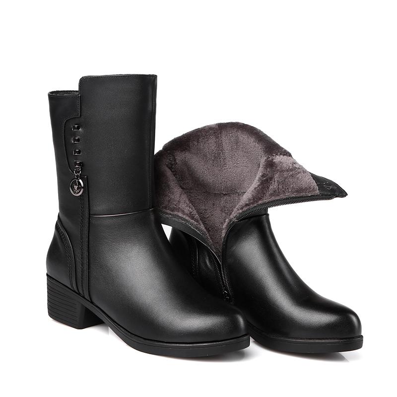秋冬复古英伦风黑色马丁靴女粗跟中筒真皮加绒棉皮鞋大码女靴全皮