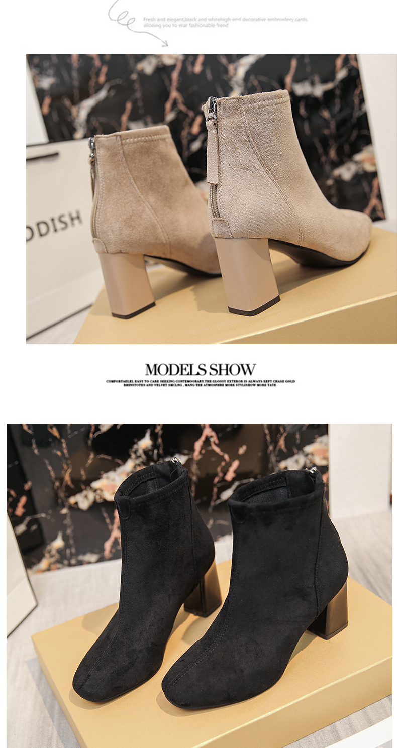 High-heeled small boots women's 2020 new thick-heeled velvet plus velvet thin Martin autumn and winter cotton shoes 59 Online shopping Bangladesh