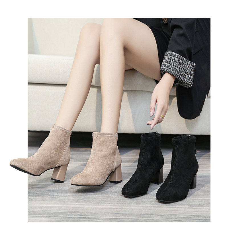 High-heeled small boots women's 2020 new thick-heeled velvet plus velvet thin Martin autumn and winter cotton shoes 43 Online shopping Bangladesh