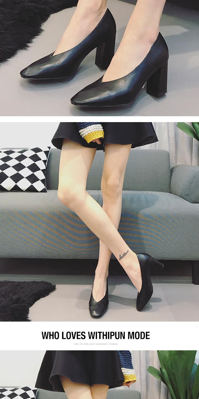 復古新款春款奶奶鞋女单鞋高跟粗跟软皮简约浅口小玛丽珍秋详细照片