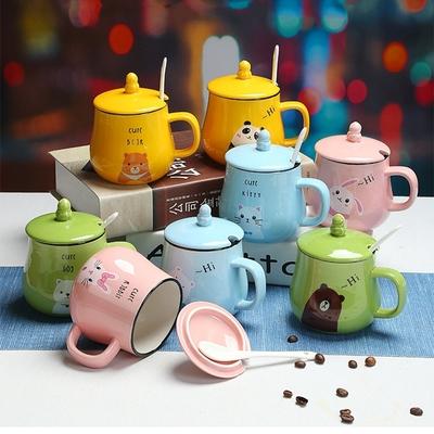 创意陶瓷情侣带盖勺马克杯