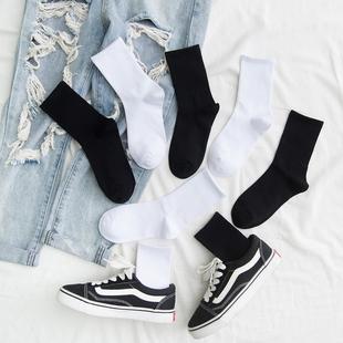 白色长袜子女中筒袜ins潮流街头百搭纯棉高帮秋冬纯黑色长筒袜男