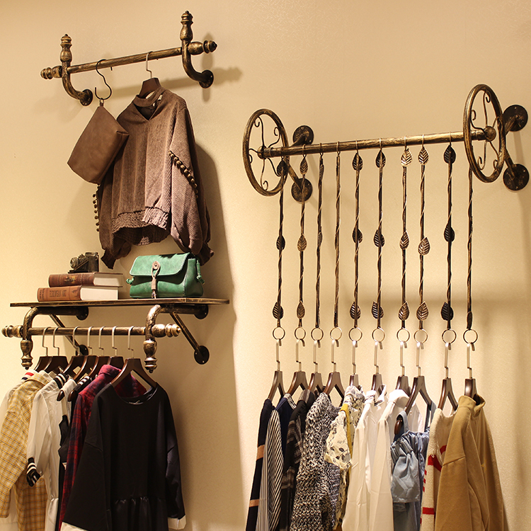 da225072b1c98 晟 铁 wrought iron women's clothing store display stand on the wall ...