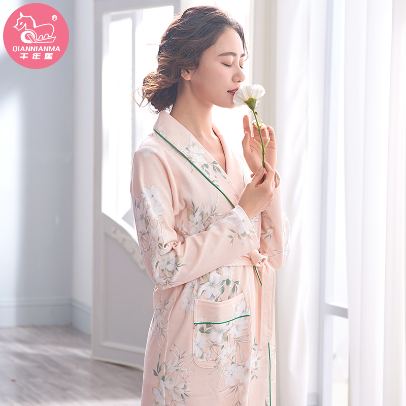 Pajamas women\'s spring cotton long-sleeved cotton gowns spring and ...